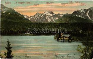 1905 Tátra, Magas Tátra, Vysoké Tatry; Csorba-tó, menedékház, hegycsúcsok. Franz Pietschmann No. 1717. / Strbské pleso / Csorber See / High Tatras, lake, chalet, mountain peaks