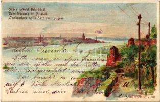 1903 Belgrade, Belgrád; Száva torkolata / Save Mündung / Lembouchure de la Save / Sava river mouth. litho s: Heyer