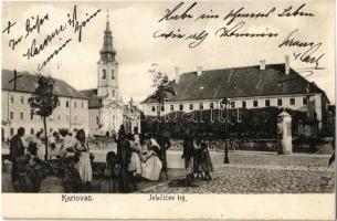 1908 Károlyváros, Karlovca, Karlovac; Jelacicev trg / tér, piaci árusok, templom. Kiadja I. Sagana / square, market vendors, church