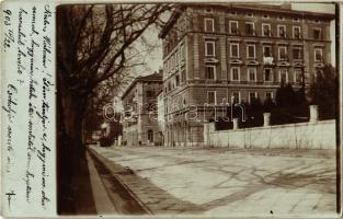 1903 Fiume, Rijeka; Corsia Deák / Deák korzó, utcakép, villamos / street view, corso, tram. photo (EK)