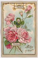 Boldog Újévet! Dombornyomott litho mechanikus naptár képeslap rózsákkal / Embossed litho mechanical calendar postcard. Emb. litho