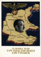 1938 März 13. Ein Volk, ein Reich, ein Führer! / Adolf Hitler, NSDAP German Nazi Party propaganda, map, swastika; 6 Ga.