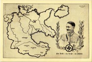 1938 März 15. Ein Volk, ein Reich, ein Führer! Zum Gedenken an die Heimkehr der Osstmark ins Reich / Adolf Hitler, NSDAP German Nazi Party propaganda, map s: Camus + 1938 Der Führers Geburtstag So. Stpl.