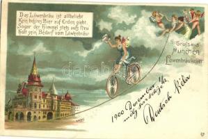 1900 Gruss aus München Löwenbräukeller / German brewery advertisement, fairy on bicycle. litho (EK)