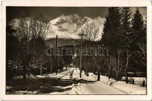 1938 Újtátrafüred, Neu-Schmecks, Novy Smokovec (Tátra, Magas Tátra, Vysoké Tatry); út télen / road in winter (EB)