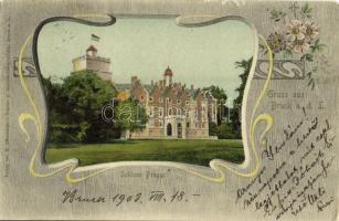 1903 Bruck an der Leitha, Lajtabruck; Schloss Prugg / castle. H. Effenberger Art Nouveau, floral (EK)