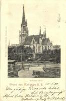 1899 Katowice, Kattowitz; Katholische Kirche / church, railway stations crossing