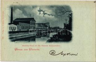 1898 Gliwice, Gleiwitz; Klodnitz-Kanal bei der Oberschl. Eisenindustrie / Klodnica river, Upper Silesian Iron Industry, iron works, factory