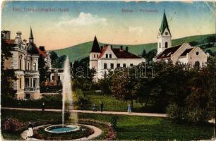 1917 Trencsénteplic, Trencianske Teplice; Sétány, szökőkút / promenade, fountain (kopott sarkak / worn corners)