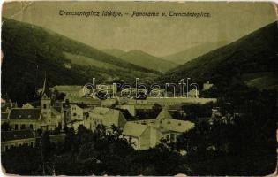 Trencsénteplic, Trencianske Teplice; Panorama / látkép, templom. Wertheim Zsigmond kiadása / general view, church (fa)