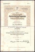 1915 Bronz Katonai Érdemérem adományozólevele, Éder Győző (1890-1980) cs. és kir. huszár főhadnagy, a brassói cs. és kir. 2. huszárezred tagja részére, Alexander von Krobatin (1849-1933) hadügyminiszter (1912-1917) aláírásával, szárazpecséttel.