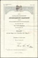 1915 Századosi kinevezés Éder Győző (1890-1980) cs. és kir. huszár főhadnagy, a brassói cs. és kir. 2. huszárezred tagja részére, Rudolf Stöger-Steiner von Steinstätten (1861-1921) hadügyminiszter (1917-1918) aláírásával, szárazpecséttel.