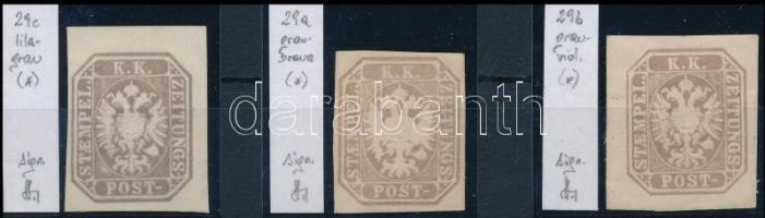 3 Newspaper stamps in colour varieties. Identification: Strakosch, 3 klf színárnyalatú Hírlapbélyeg Identification: Strakosch