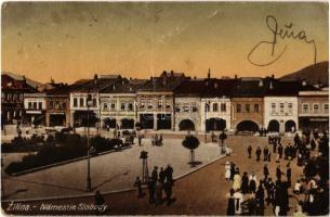 1920 Zsolna, Zilina; Námestie Slobody / tér, üzletek. Kiadja L. Biel. Fot. Gustav Unger / square, shops (fa)