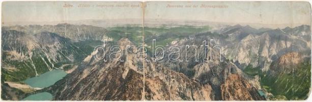 1904 Tátra, Magas Tátra, Vysoké Tatry; Kilátás a Tengerszem csúcsról észak felé. Cattarino Sándor kiadása 179. sz. Kihajtható panorámalap / Panorama von der Meeraugenspitze / High Tatras panorama from Rysy mountain peak. folding panoramacard (b)