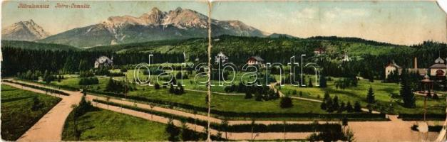 1904 Tátralomnic, Tatranská Lomnica (Tátra, Magas Tátra, Vysoké Tatry); kihajtható panorámalap nyaralókkal. Cattarino Sándor kiadása 181. sz. / folding panoramacard with villas (EM)