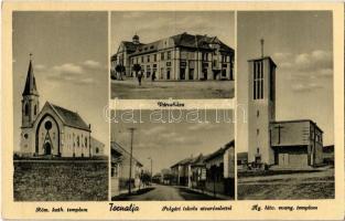 1942 Tornalja, Tornaalja, Tornala; Római katolikus templom, Városháza, Polgári iskola, utca, Evangélikus templom / Catholic church, town hall, school, street view, Lutheran church