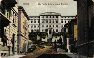 1913 Fiume, Rijeka; Via Flavio Gioia e scuola Nautica / street, nautical school (EB)