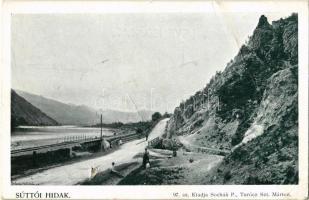 Sutó, Sútovo; Súttói hidak a Vágnál, vasúti híd. Kiadja Sochán P. 97. / Váh river bridges, railway bridge (lyuk / hole)