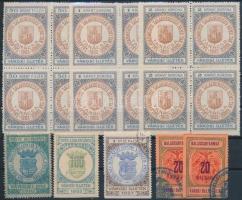 Zalaegerszeg, Győr, Balassagyarmat 17 db okmánybélyeg / fiscal stamps