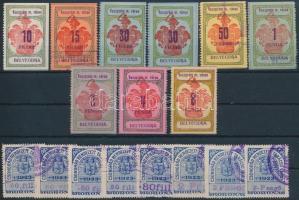 Veszprém, Csongrád 17 db okmánybélyeg / fiscal stamps