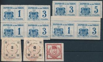 Zombor 8 db okmánybélyeg, közte középen fogazat párok + Szatmárnémeti és Brassó 3 db okmánybélyeg (212.500) / fiscal stamps