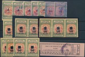 Kaposvár 18 db okmánybélyeg / fiscal stamps