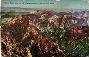 Tátra, Magas Tátra, Vysoké Tatry; Panorama von der Meeraugenspitze nach Nord / kilátás a Tengerszem-csúcsról / view from Rysy (kopott szélek / worn edges)