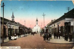 1915 Óbecse, Stari Becej; Templom utca, Római katolikus templom, üzletek. Kiadja Lévai Lajos / street view, church, shops (EK)