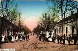 1915 Óbecse, Stari Becej; Fő utca, helyiek csoportképe. Kiadja Lévai Lajos 197/5. / main street, locals (EK)