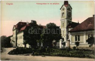 Ungvár, Uzshorod, Uzhhorod, Uzhorod; Vármegyeháza és Református templom. Kiadja Székely és Illés 1616. / county hall, Calvinist church