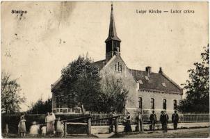 1916 Szalatnok, Szlatina, Slatina; Luter Kirche / Lutor crkva / Evangélikus templom. Kiadja Sam. Schmutzer / Lutheran church (EK)