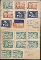 1951 Ajánlott légi levél Belgiumba 33 db bélyeggel bérmentesítve, összesen 52,8Ft-tal! Igen érdekes küldemény!