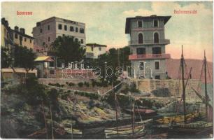 Lovran, Laurana, Lovrana; Hafenansicht / kikötő, Hotel Konics villa / port, hotel villa, boats. Josef Bassan 48. (Rb)