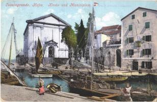 Veli Losinj, Lussingrande; Hafen, Kirche und Minicipium / port, church, boats (fa)