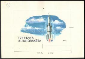 Gönczi Béla űrkutatással kapcsolatos 22 x 30 cm-es eredeti bélyegterve / Space research, original essay of B. Gönczi