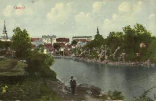 1915 Goszpics, Gospic; látkép / general view (kissé ázott / slightly wet)