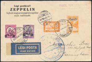 1931 Zeppelin magyarországi körrepülés levelezőlap Zeppelin 1P bélyeggel, debreceni ledobással