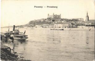 1908 Pozsony, Pressburg, Bratislava; vár, gőzhajó / castle, steamship (EK)
