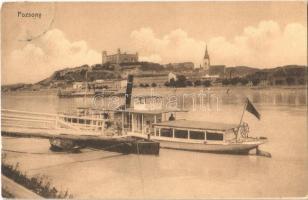 1914 Pozsony, Pressburg, Bratislava; vár, gőzhajó / castle, steamship (kopott sarok / worn corner)