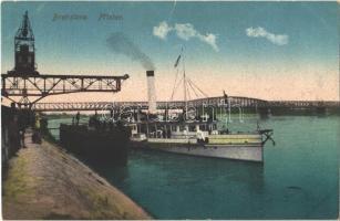 Pozsony, Pressburg, Bratislava; Prístav / kikötő, gőzhajó, portáldaru / port, steamship, dockside crane