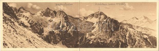 1929 Tátra, Magas Tátra, Vysoké Tatry; A Magas-Tátra keleti látképe a Nagy-Morgásról. kihajtható panorámalap / Panorama der östlichsten Hohen Tatra vom Ratzenberg / Velká Svistovka / panorama view of the High Tatras. folding panoramacard