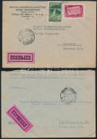 6 db levél, közte expressz + 1 db Virág (I.) bélyeggel bérmentesített