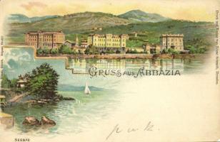 1900 Abbazia, Opatija; Seebad / fürdő / spa, baths. Gebr. Künzli Nr. 627. Art Nouveau, litho (EM)