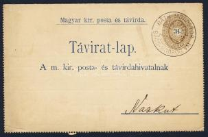 1900 31kr díjjegyes zárt táviratlap BÁTH-MONOSTOR BÁCS BODROG VM - BÁCS-VASKUT