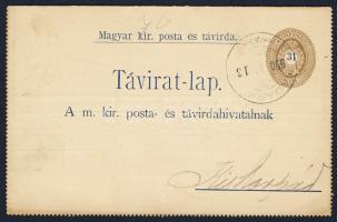 1900 31kr díjjegyes zárt táviratlap KADARKUT - KIS-KORPÁD