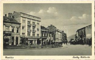 Munkács, Mukacheve, Mukachevo, Mukacevo; Horthy Miklós tér, üzletek / square, shops