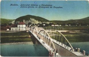 1915 Munkács, Mukacheve, Mukachevo, Mukacevo; Latorca híd háttérben a Kárpátokkal / Latorca-Brücke, im Hintergrund die Karpathen / Latorica bridge, Carpathian Mountains (EB)