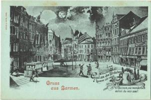 Barmen, Grad aus dem Wirthshaus komme ich raus. O Barmen, wie wunderlich siehst du mir aus! / memorial postcard for Bielas Comet. Humour. Schaar & Dathe