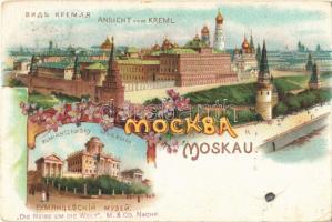 1899 (Vorläufer!) Moscow, Moscou, Moskau; Ansicht vom Kreml, Rumiantzewsky Museum. Art Nouveau, floral, litho (EK)